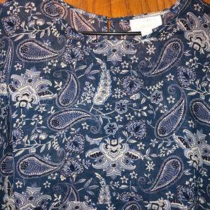 Simply Emma Women's Blue & White Paisley Blouse